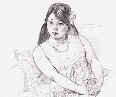 鉛筆画「穏やかな午後」(部分)
